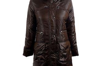 Dámský hnědý kabát s límečkem Quo Vadis