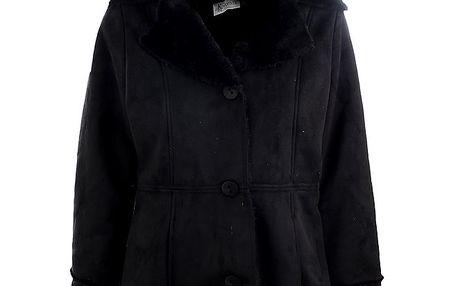 Dámský černý kabát K.Women s kožíškovým límcem