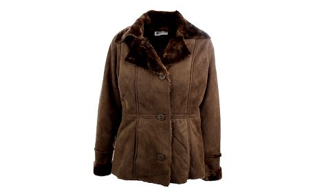 Dámský hnědý kabát K. Women s kožíškovým límcem