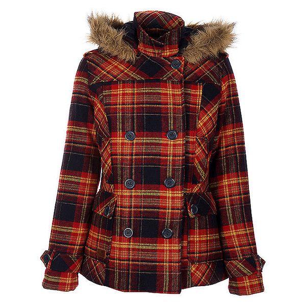 Dámský modročervený kabát Timeout s kapucí