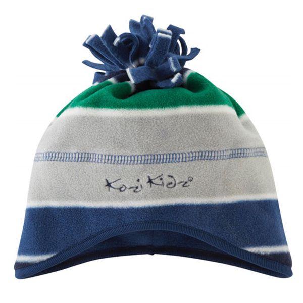 Microfleecová čepice modro-šedo-zelená