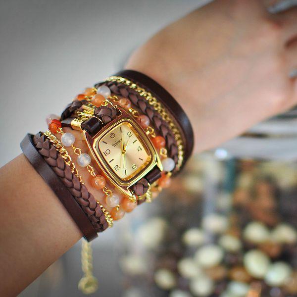 Hodinky Crème Brûlée - čas v objetí surové kůže, minerálů a leštěného kovu