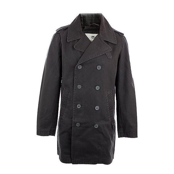 Pánský šedý dvouřadý kabát Timeout