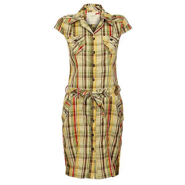 Dámské béžové šaty Timeout s barevnou kostkou