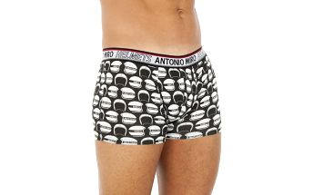 Pánské černo-bílé závodnické boxerky Antonio Miro