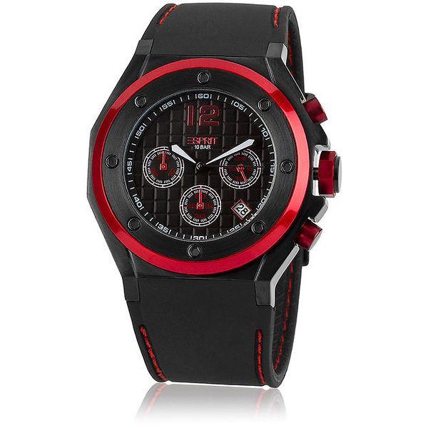 Pánské černo-červené analogové hodinky Esprit