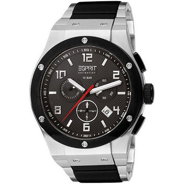 Pánské černo-stříbrné ocelové hodinky s chronografem Esprit
