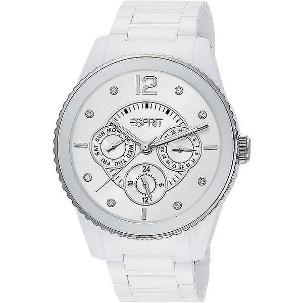 Dámské bílé analogové hodinky s chronografem Esprit