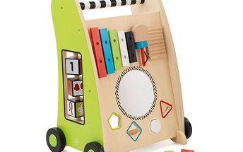 Veselý vozíček pro první krůčky - veselé barvy, otočné kostky, vkládačka tvarů, xylofon, pohyblivá zvířátka, zrcadlo