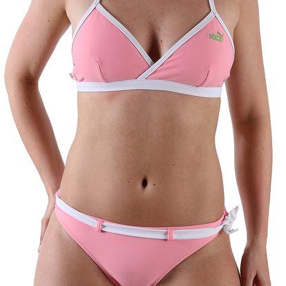 Růžové dámské dvoudílné plavky Puma z kvalitního materiálu s vlákny Lycra