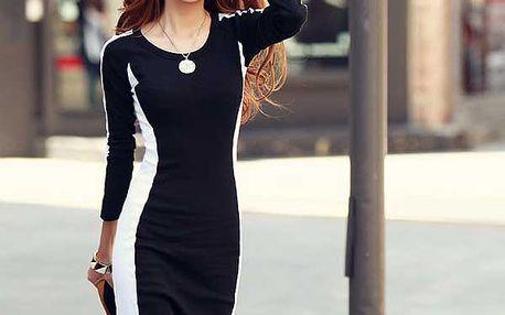 Elegantní černo-bílé šaty se zeštíhlujícím efektem a poštovné ZDARMA! - 29405519