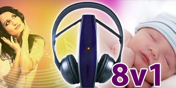 Multifunkční bezdrátová sluchátka 8v1 možné použít i pro monitoring miminka