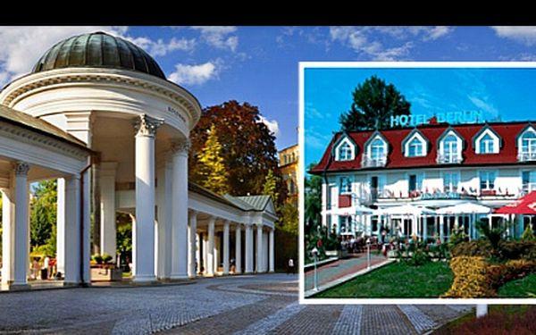 Světoznámé MARIÁNSKÉ LÁZNĚ na 3 nebo 6 dní pro DVA v hotelu BERLÍN včetně SNÍDANĚ, vstupů do SOLNÉ JESKYNĚ, MASÁŽE a dalších BONUSŮ v závislosti na výběru balíčku se slevou 55 %: Dopřejte si odpočinkovou seanci s atmosférou lázeňského města.