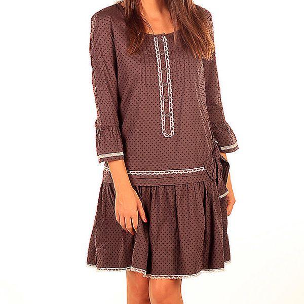 Dámské hnědé šaty se světlou krajkou Tonala