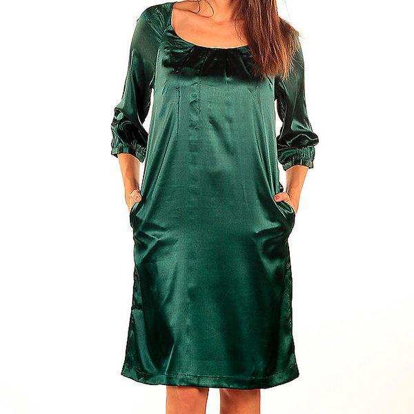 Dámské lesklé tmavě zelené šaty Tonala