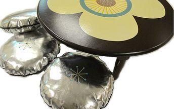 Krásný stoleček s motivem květiny + 3 sedáky