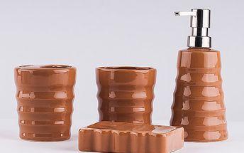 Hnědá koupelnová sada 4 ks z keramiky - mýdlenka, dávkovač na mýdlo, kelímek a kelímek s otvorem