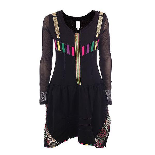Dámské černé šaty se zlatými šlemi a zipem DY Dislay Design
