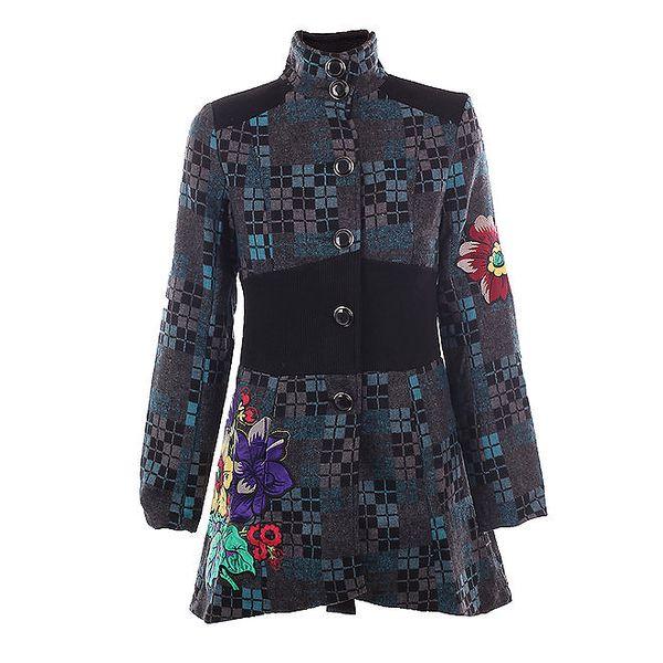 Dámský kabát s kostkami a květinami DY Dislay Design