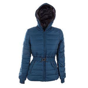 Dámská modrá bunda Sisley s páskem a šedou podšívkou