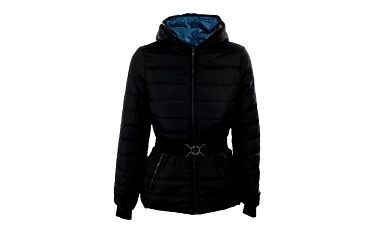 Dámská černá bunda Sisley s páskem a tyrkysovou podšívkou