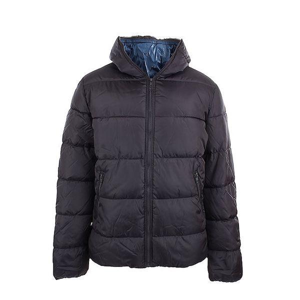 Pánská tmavě šedá bunda Sisley s modrou podšívkou