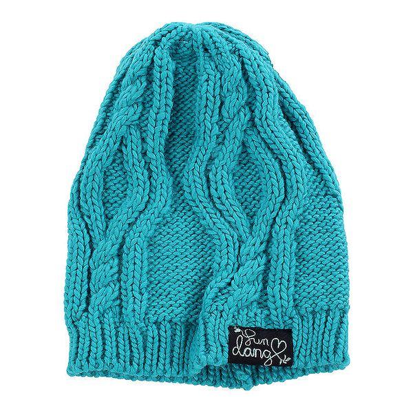 Dámská tyrkysová pletená čepice Fundango