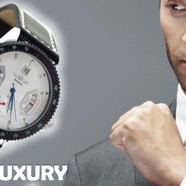 Buďte pánem svého času a mějte ho vždy pod kontrolou! Pánské luxusní automatické hodinky Winner LUXURY z nerezové oceli s minerálním sklíčkem, koženým řemínkem, ukazatelem data a dvojitou vteřinovkou!