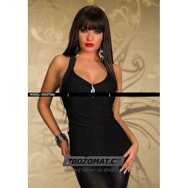 Elegantní černá halenka s vázáním za krk