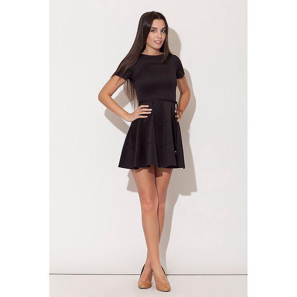 Dámské černé minišaty Katrus s kolovou sukní