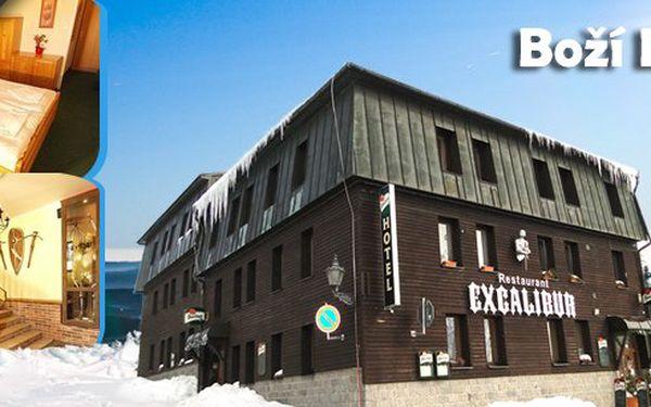 Pobyt pro 2 osoby v hotelu Boží Dar Excalibur s polopenzí, lahví vína, kávou a zákuskem, zapůjčením holí na Nordic Walking a billiardem!! Pobyt jistě ocení páry, rodiny s dětmi či skupina přátel!!