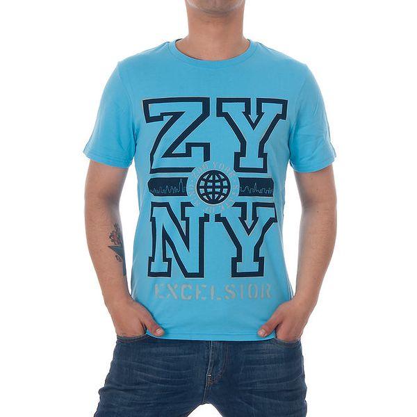Pánské modré tričko Zoo York s černým potiskem