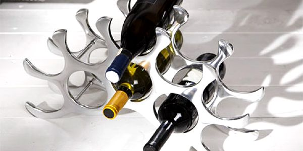 Nerezový stojan na víno – kapacita 10 lahví
