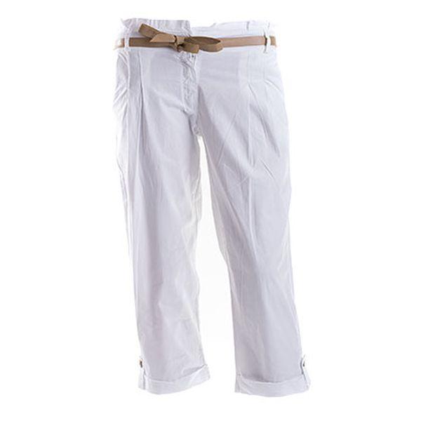 Dámské bílé kalhoty s páskem