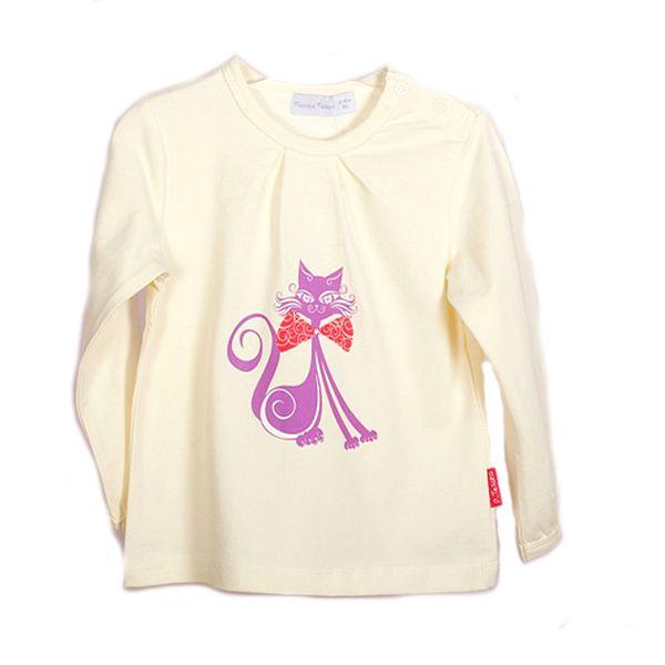 Dívčí tričko s kočičkou - krémové