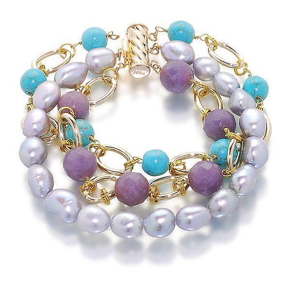 Dámský perlový náramek s barevnými kameny Orchira