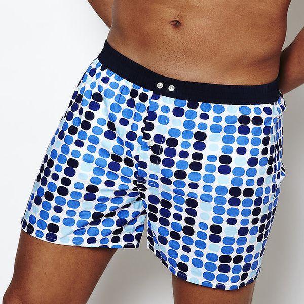 Pánské boxerky Color Code s modrými puntíky