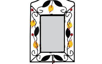 Svícen Sunchi 502-Svícen se zrcadlem obdélník oranžové lístky
