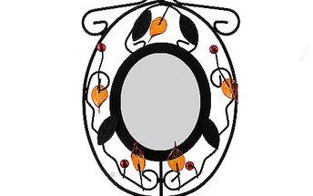 Svícen Sunchi 502-Svícen se zrcadlem kulaté oranžové lístky