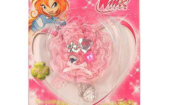 Gumička do vlasů Winx Club Gumička do vlasů s řetízkem WinX světle růžová