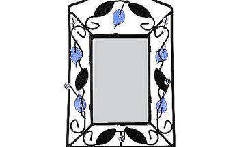 Svícen Sunchi 502-Svícen se zrcadlem obdélník modré lístky