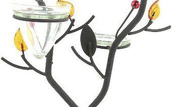 Svícen Sunchi 501-Svícen ve tvaru větvičky oranžové lístky