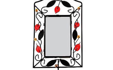 Svícen Sunchi 502-Svícen se zrcadlem obdélník červené lístky