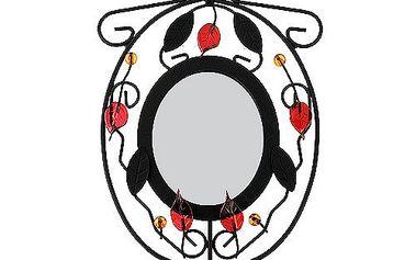 Svícen Sunchi 502-Svícen se zrcadlem kulaté červené lístky
