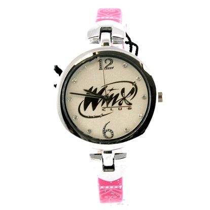Trendové hodinky s nápisem WinX z kolekce Winx Club, tmavě růžový řemínek.
