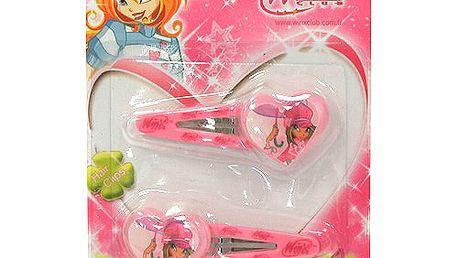 Sponky do vlasů Winx Club Cvakačka 2 ks se srdíčkem M Flora světle růžová