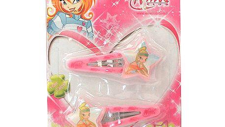 Sponky do vlasů Winx Club Cvakačka 2 ks hvězdičky Stella světle růžová