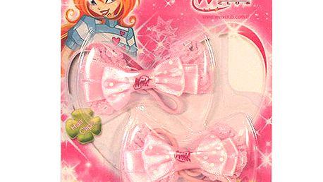 Gumička do vlasů Winx Club Gumička 2ks mašlička WinX světle růžová