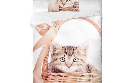 Bavlněné povlečení Kočka v košíku 140 x 200 cm, 70 x 90 cm Jerry Fabrics