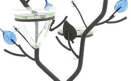 Svícen Sunchi 501-Svícen ve tvaru větvičky modré lístky